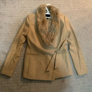 EUC banana republic tan wrap front fur blazer